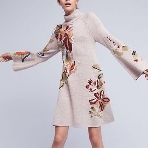 Knitted and Knotted Embroidered Sweater Dress